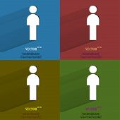 Color set man restroom. Flat modern web button with long shadow and space for your text