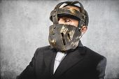 face, dangerous business man with iron mask and expressions