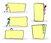 pic of lined-paper  - Cute cartoon kids playing around notes - JPG