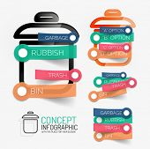 Vector rubbish bin and keywords on sticky lines infographic. Keyword tag cloud scheme on trash icons