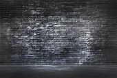 picture of fortified wall  - Black Brick Wall and Cement Floor - JPG