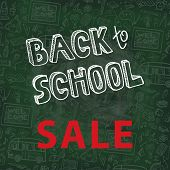 stock photo of drow  - Back to School Supplies Sketchy chalkboard Doodles  lettering with  Swirls - JPG