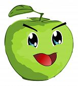 Smiling Green Apple - Manga Style - Isolated