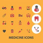medicine icons, signs, objects set, vector
