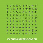 100 business presentation icons, signs, objects set, vector