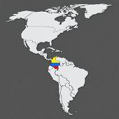 Map of worlds. Venezuela. 3d