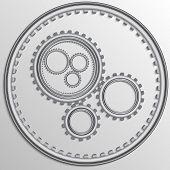 Vector illustration of metallic chrome gear wheels