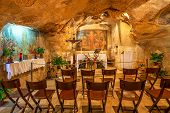 JERUSALEM, ISRAEL - JULY 13, 2014: Interior view of Grotto of Gethsemane - chapel located in natural cave near the Tomb of the Virgin Mary. This is the place where Judas Iscariot betrayed Jesus.