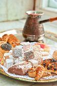 Turkish delight dessert rahat lokum different colors, and baklava