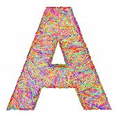 Alphabet Symbol Letter A Composed Of Colorful Striplines