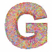 Alphabet Symbol Letter G Composed Of Colorful Striplines