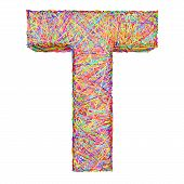 Alphabet Symbol Letter T Composed Of Colorful Striplines