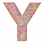 Alphabet Symbol Letter Y Composed Of Colorful Striplines