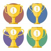 stock photo of chalice antique  - Sot of different golden cups - JPG