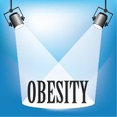 foto of flabby  - Concept of Obesity being in the spotlight - JPG