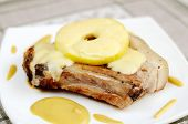 stock photo of cheese-steak  - Beef steak with apple and cheese on a table - JPG