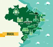 Landmark Brazil Map Silhouette Icon