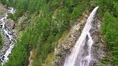 View On Waterfall  Near The Matterhorn In Swiss