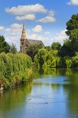 Shrewsbury Church on the River Severn in Shropshire, England, UK