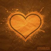 Creased Old Vector Paper With Handmade Heart Background