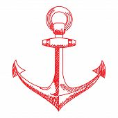 Anchor icon. Nautical vector isolated white, red