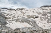 View Of A Snowfield In The Dolomites