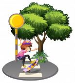 foto of post-teen  - Illustration of a girl skateboarding at the street on a white background - JPG