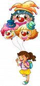 Illustration of a happy girl holding clown balloons on a white background