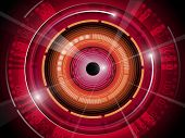 Red eye ball technology background