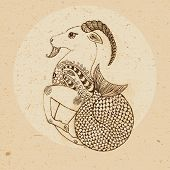 stock photo of capricorn  - Hand drawn Capricorn with elements of the ornament in ethnic style - JPG