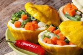Baked Yellow Squash Stuffed With Vegetables Horizontal