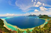 stock photo of malaysia  - An amazing  view of Sulawesi Sea from the top of Bohey Dulang Island in Semporan, Sabah, Malaysia.