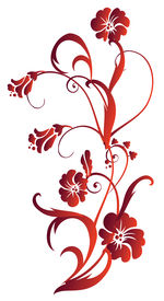 pic of floral design  - drawing of red flower pattern in a white background - JPG
