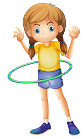 foto of hulahoop  - Illustration of a young girl playing with the hulahoop on a white background - JPG