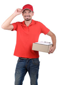 foto of fragile sign  - Happy smiling delivery man signing papers for delivery - JPG