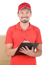 image of fragile sign  - Happy smiling delivery man signing papers for delivery - JPG
