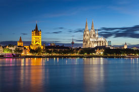 stock photo of dom  - Cologne cathedral or Cologne Dom and city skyline at Germany - JPG