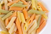 Penne colored pasta