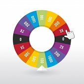 stock photo of money prize  - color wheel luck with the amount of money - JPG