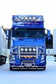 Blue Volvo FH13 With Lighting Accessories