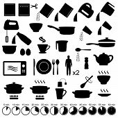 image of food preparation tools equipment  - vector set  kitchen icons - JPG