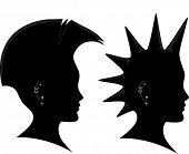 Side View Illustration of the Silhouette of a Man Sporting a Mohawk