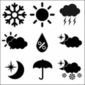 Weather Icons on White Background, Vector Illustration
