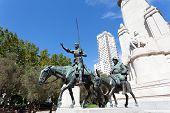 Madrid. Monument to Cervantes Don Quixote and Sancho Panza.