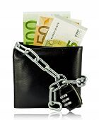 Black Wallet With Money Tied With Chain And Padlock On White Background