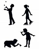 Four Children Playing Silhouettes