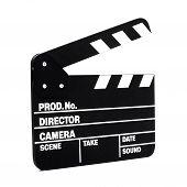 Movie Clapper Board On White Background
