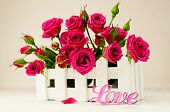 Beautiful Pink Rose In Wooden Box