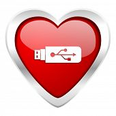 usb valentine icon flash memory sign