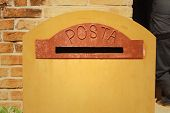 picture of old post office  - Vintage of brown mailbox in the post office - JPG